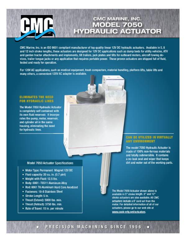 cmc marine - brochure - model 7050 industrial hydraulic actuator