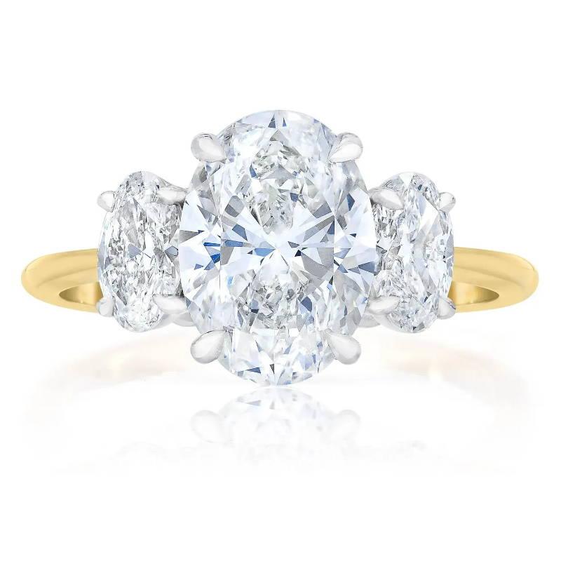 Whisper Thin 3 Stone Oval Ring
