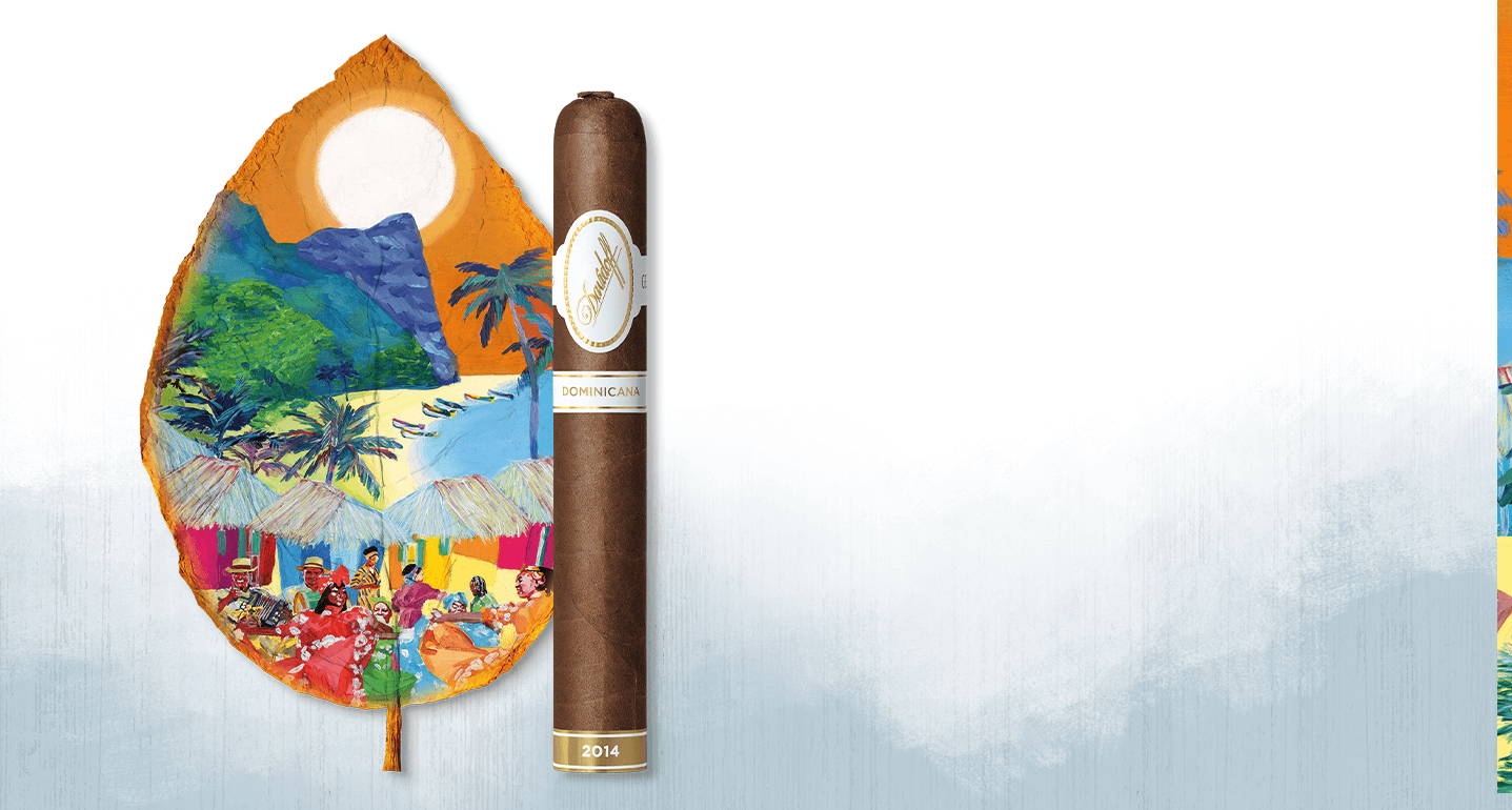 New Davidoff Dominicana Cigar 2014 with a painted Dominican Artwork on a tobacco leaf