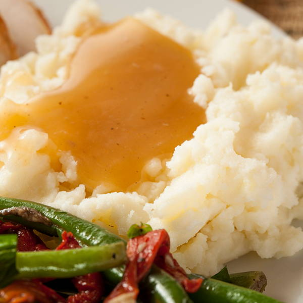 High Quality Organics Express gravy on mashed potatoes