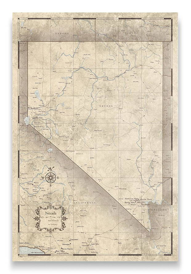 Nevada Push pin travel map rustic vintage