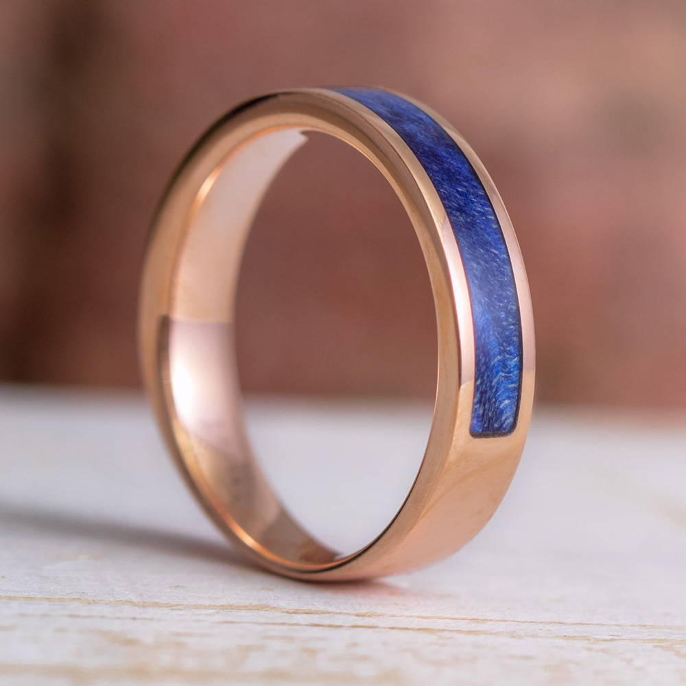 Partial Blue Wood Wedding Band