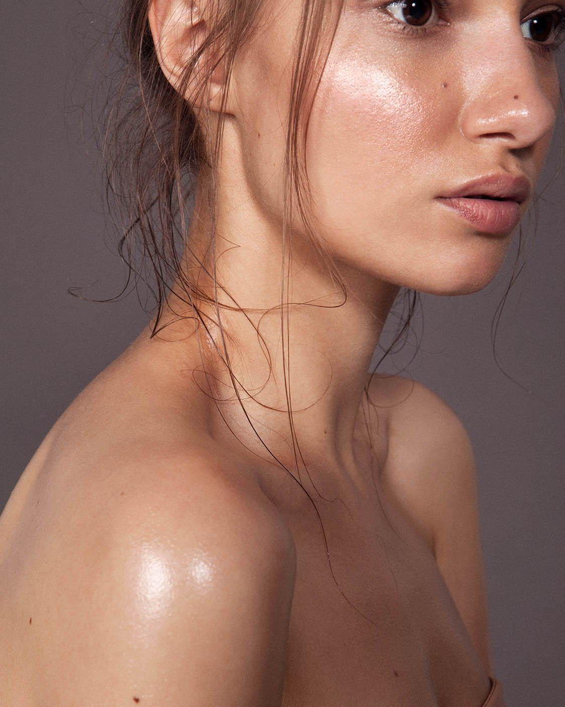 girl with glowing skin
