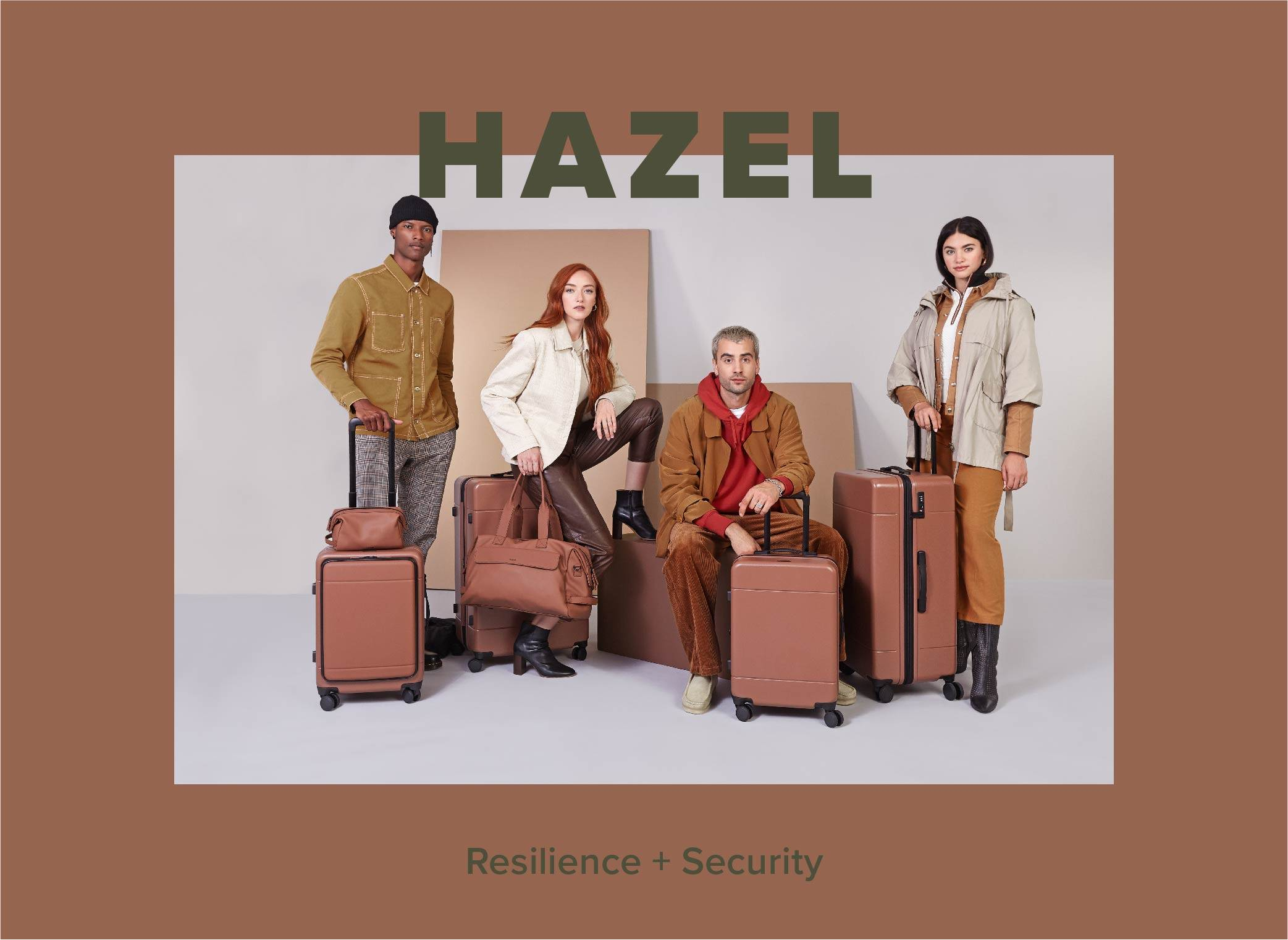 Models with Hue collection in hazel in cluding the duffel, luggage and toiletry bag