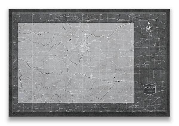 Colorado Push pin travel map Modern slate