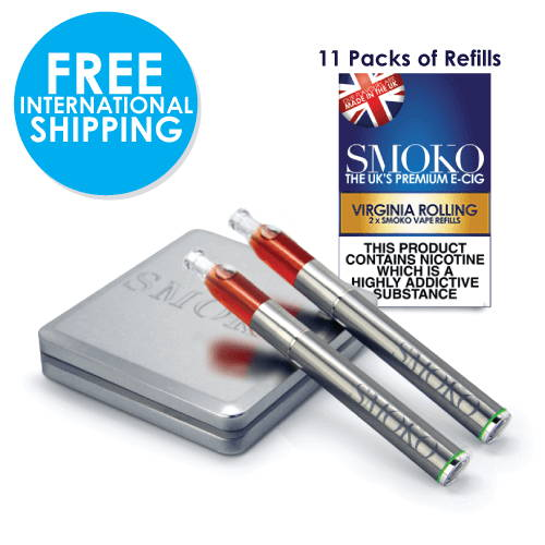 SMOKO Kit de démarrage VAPE + packs de recharges 11 + batterie vape supplémentaire + livraison internationale gratuite