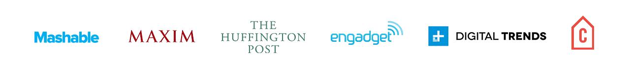 Mashable Maxim The Huffington Post Engadget Digital Trends Logos