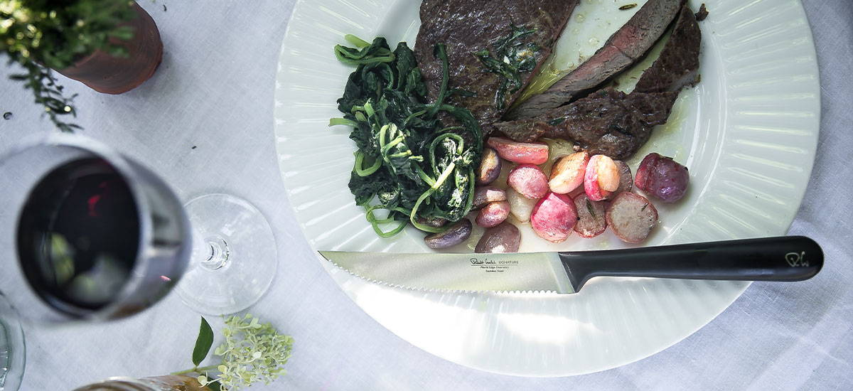 Rump steak with sauteed radishes