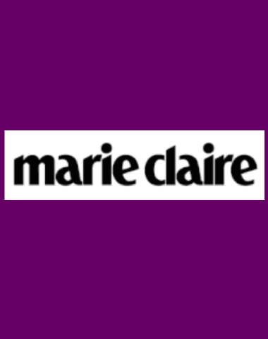 Purple rectangle icon with Marie Claire logo in center