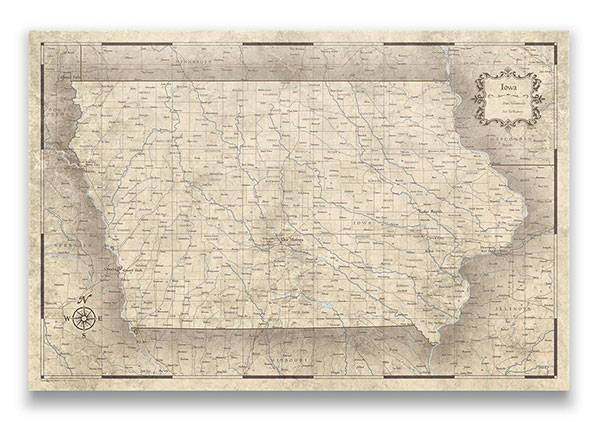 Iowa Push pin travel map rustic vintage