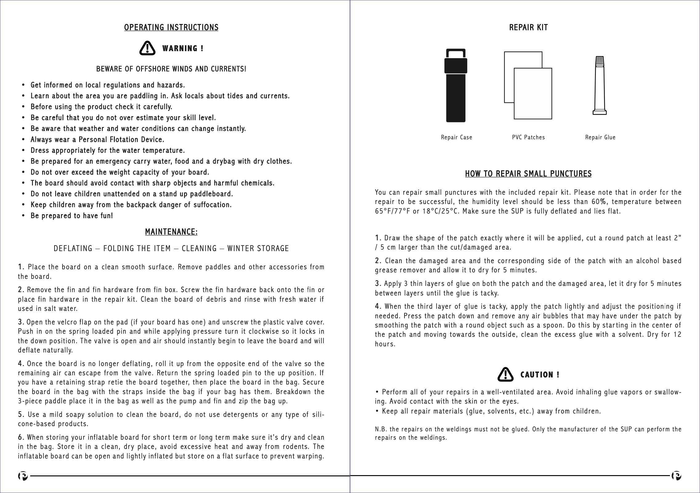 pau hana inflatable stand up paddle board user manual page 6-5