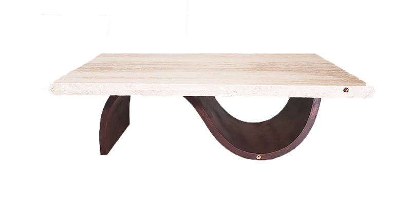 Cream travertine rectangular coffee table with a modern wrought iron base