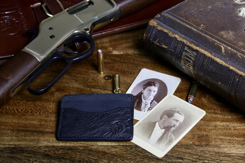Ostrich skin front pocket wallet