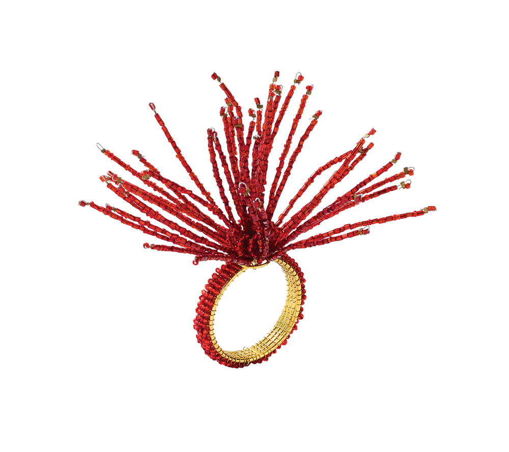 Image 1 Image 1 SPIDER BEAD BURST NAPKIN RING IN RED