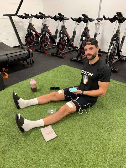 professional hockey, sports recovery, electrical stimulation, muscle soreness, dan catennaci