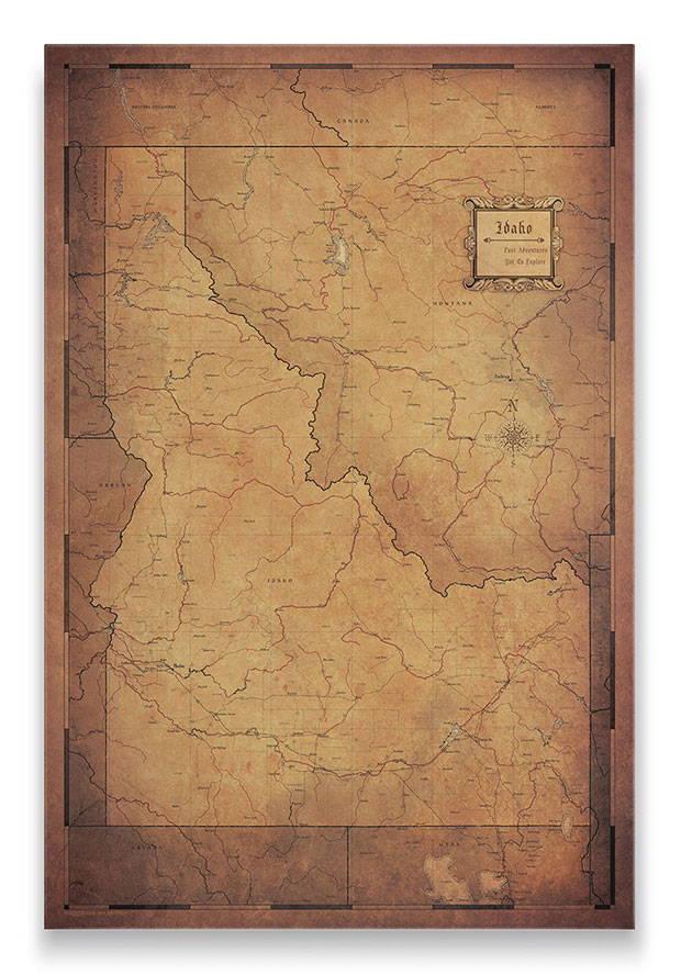 Idaho Push pin travel map golden aged