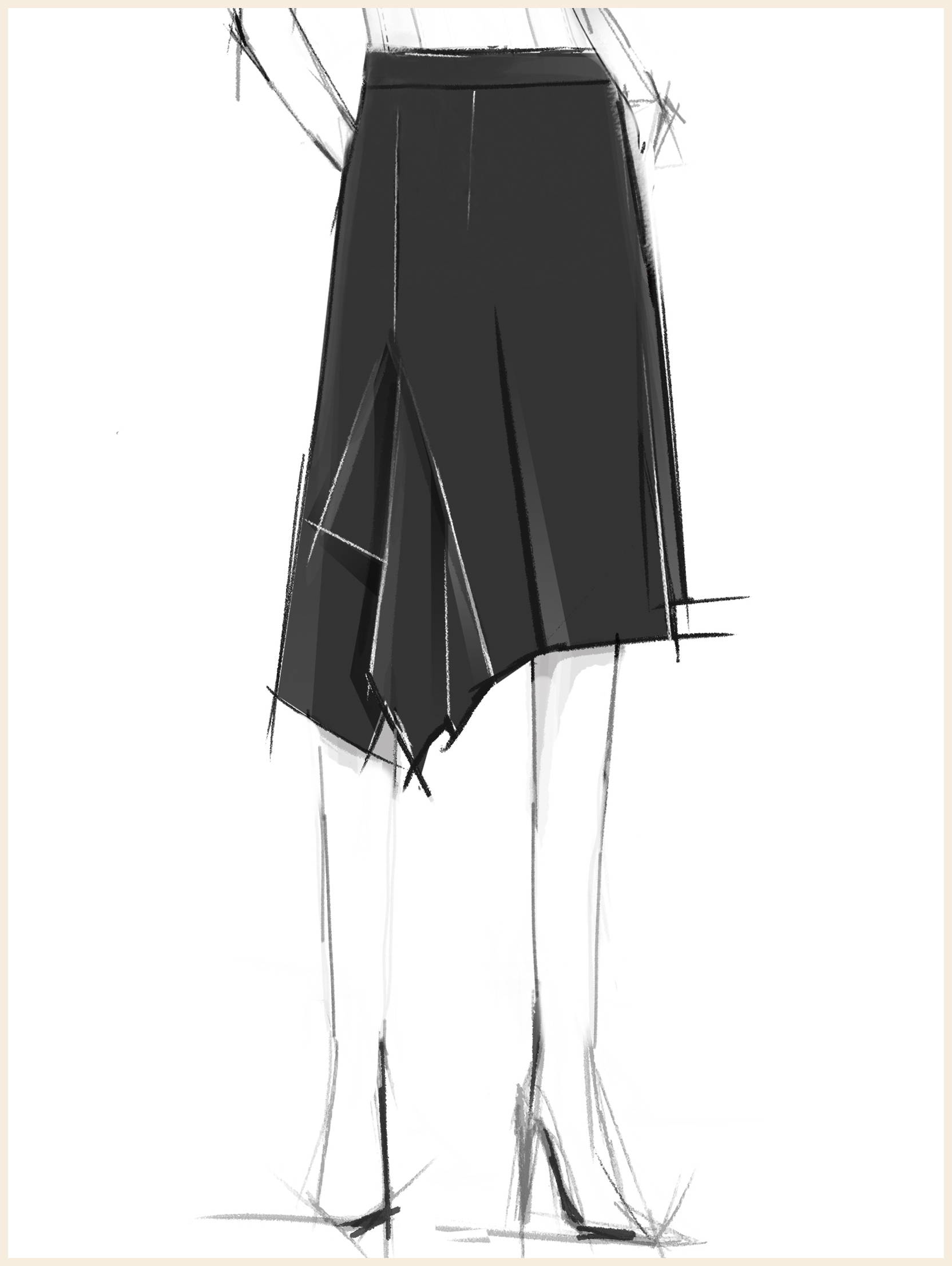 Side Drape Stretch Crepe Skirt, Black
