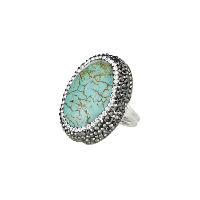 SORU JEWELLERY TURQUOISE RING, SORU BLUE STONE RING
