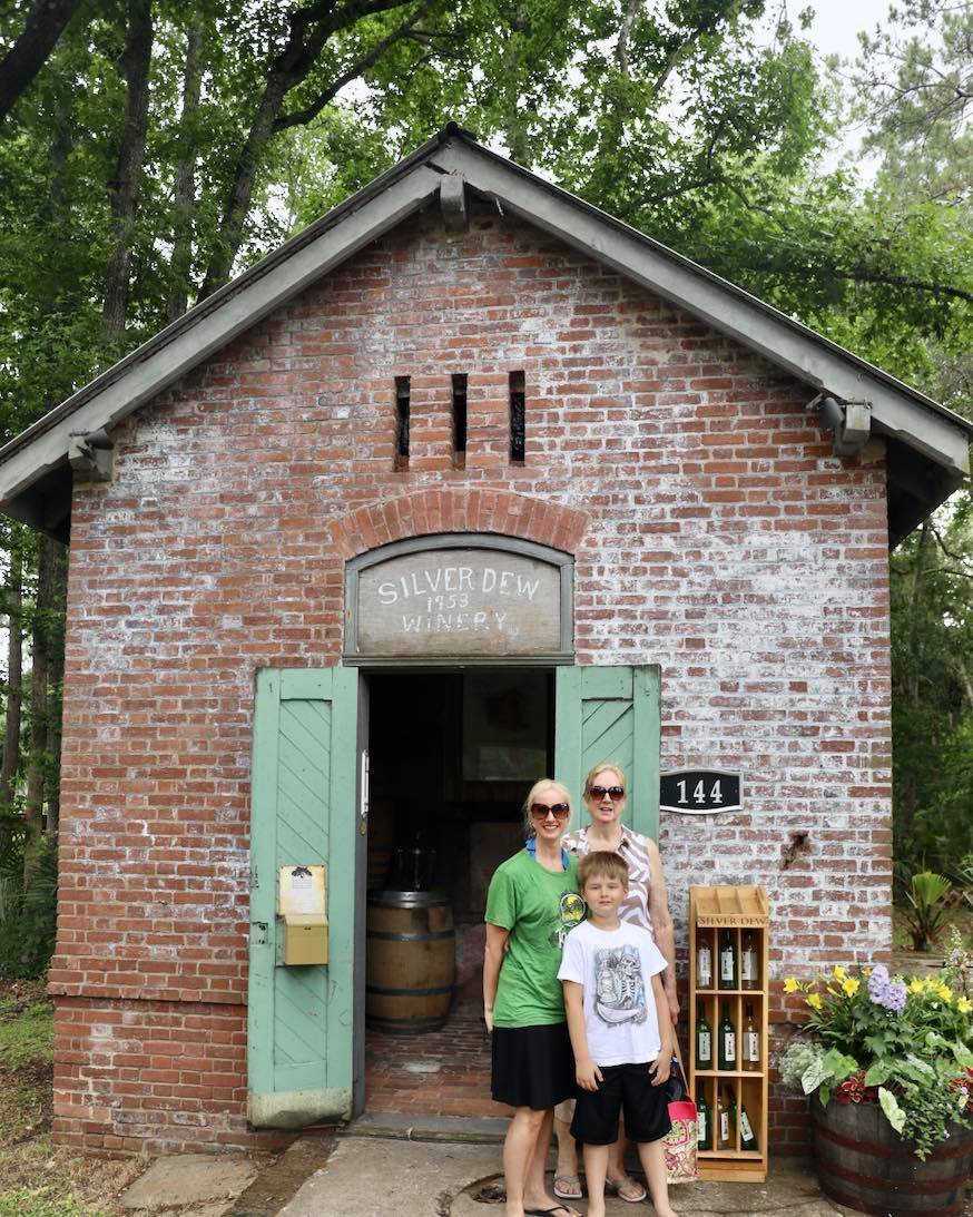 Family on vacation on Daufuskie Island from Hilton Head at the Silver Dew Winery