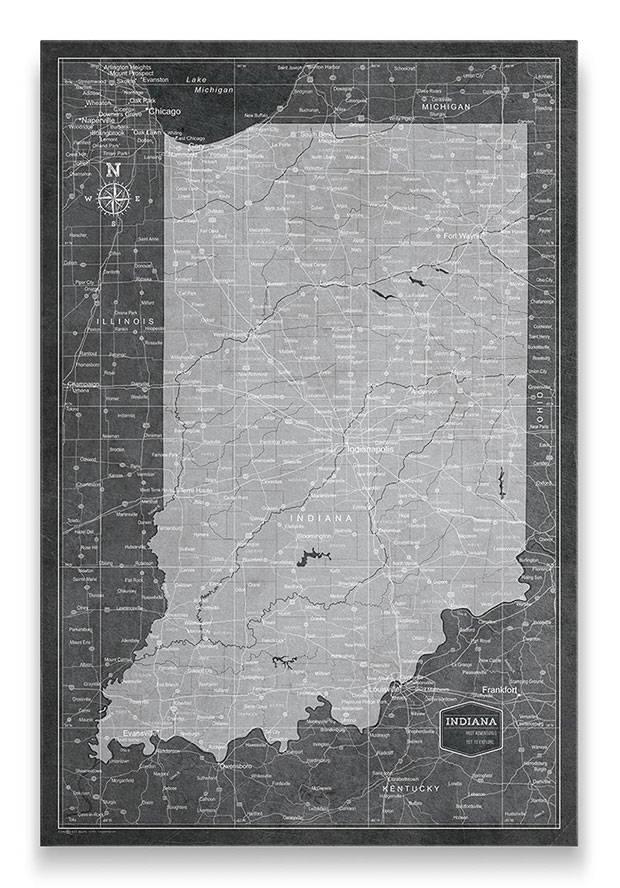 Indiana Push pin travel map modern slate