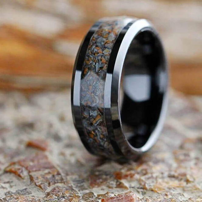 Black Ring with Dinosaur Bone