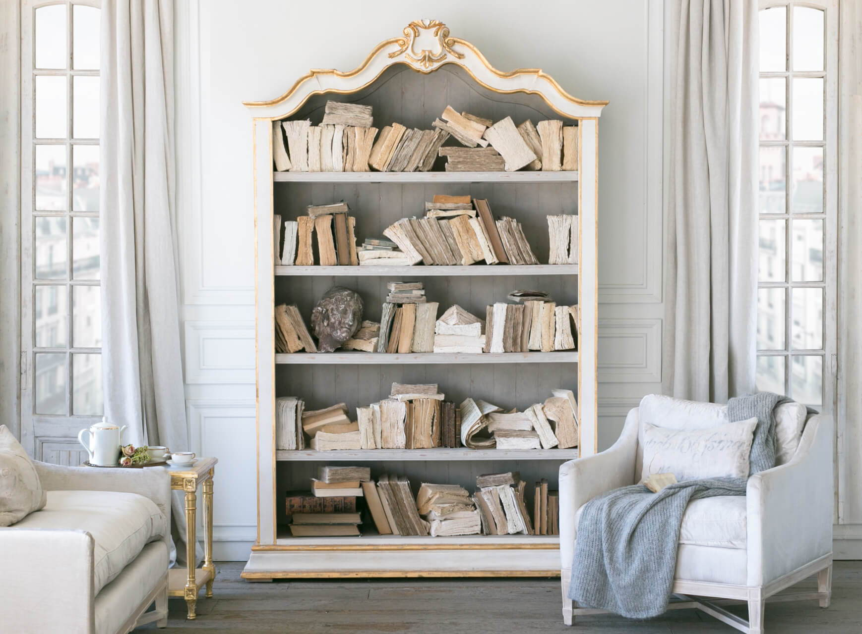 Eloquence® Rousseau Bookcase in Gilt and Gustavian Grey Finish