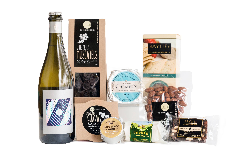 New mum cheese and wine hamper gift