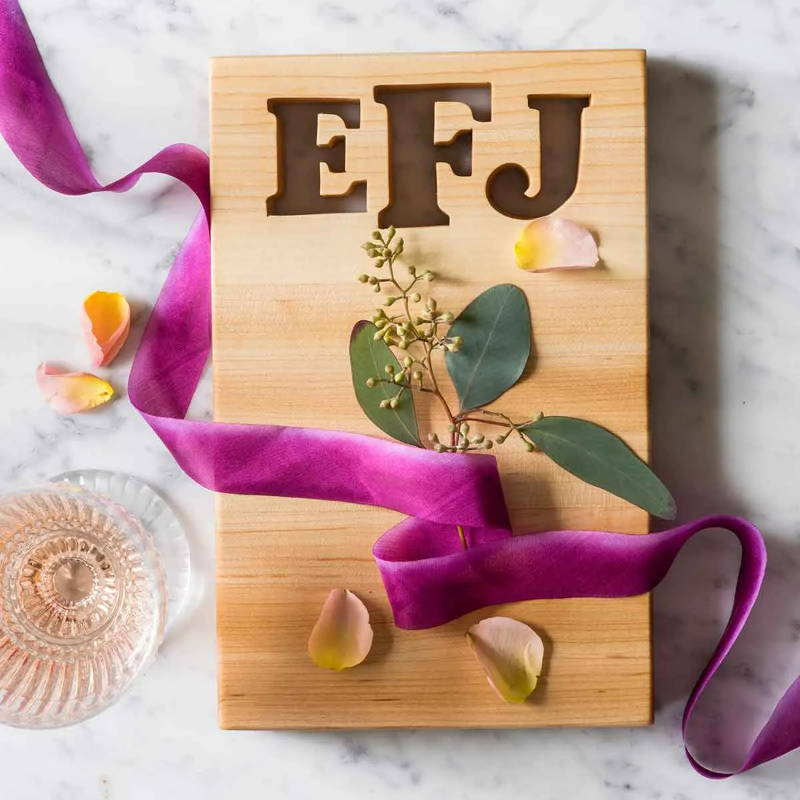 Personalized cutting boards monogrammed with 3 initials