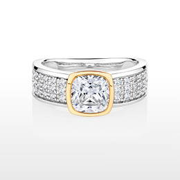 Synergy cushion and round brilliant cut diamond simulant ring crafted in sterling silver with 10ct yellow gold.