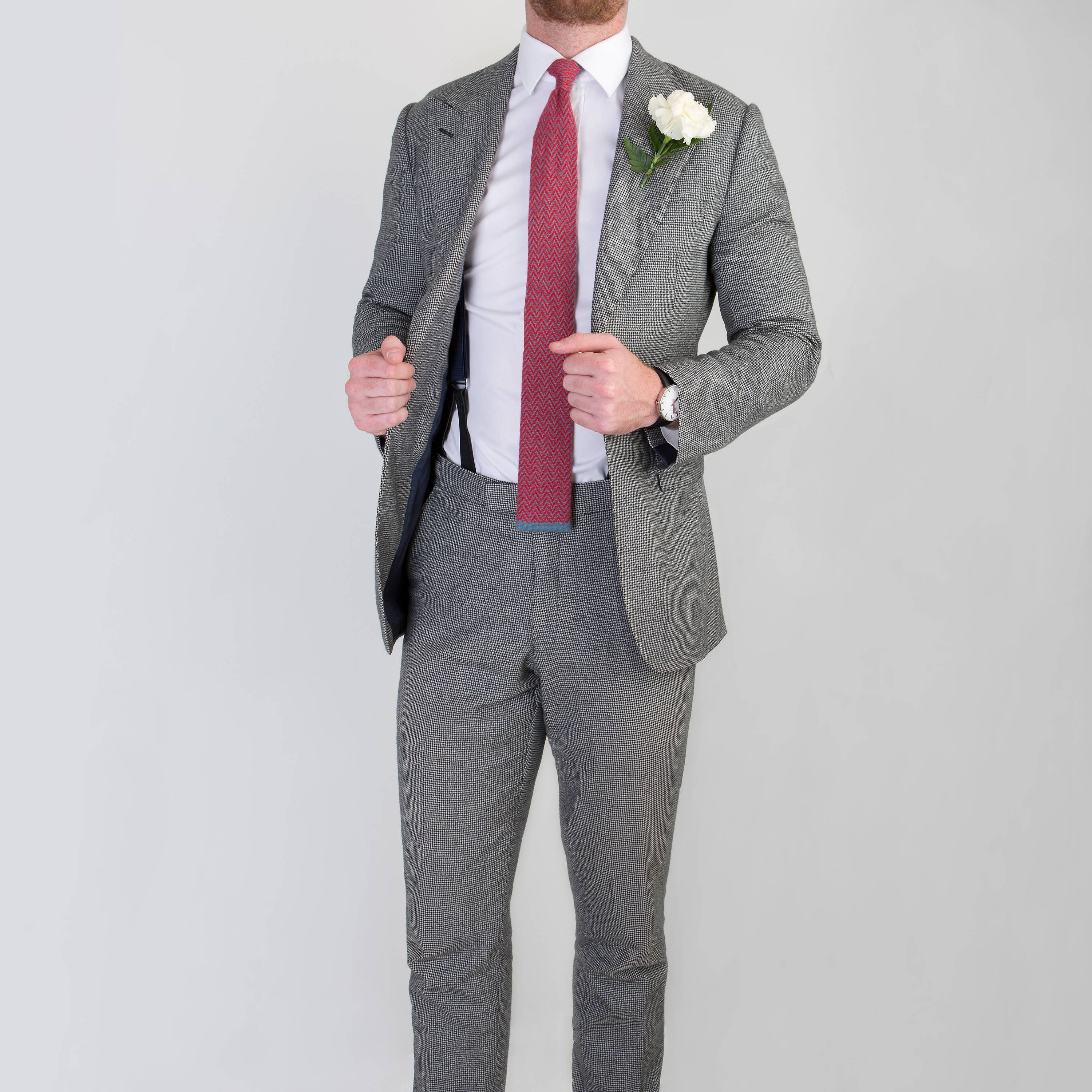 Single breasted wedding suit worn by Mullen and Mullen bespoke tailoring