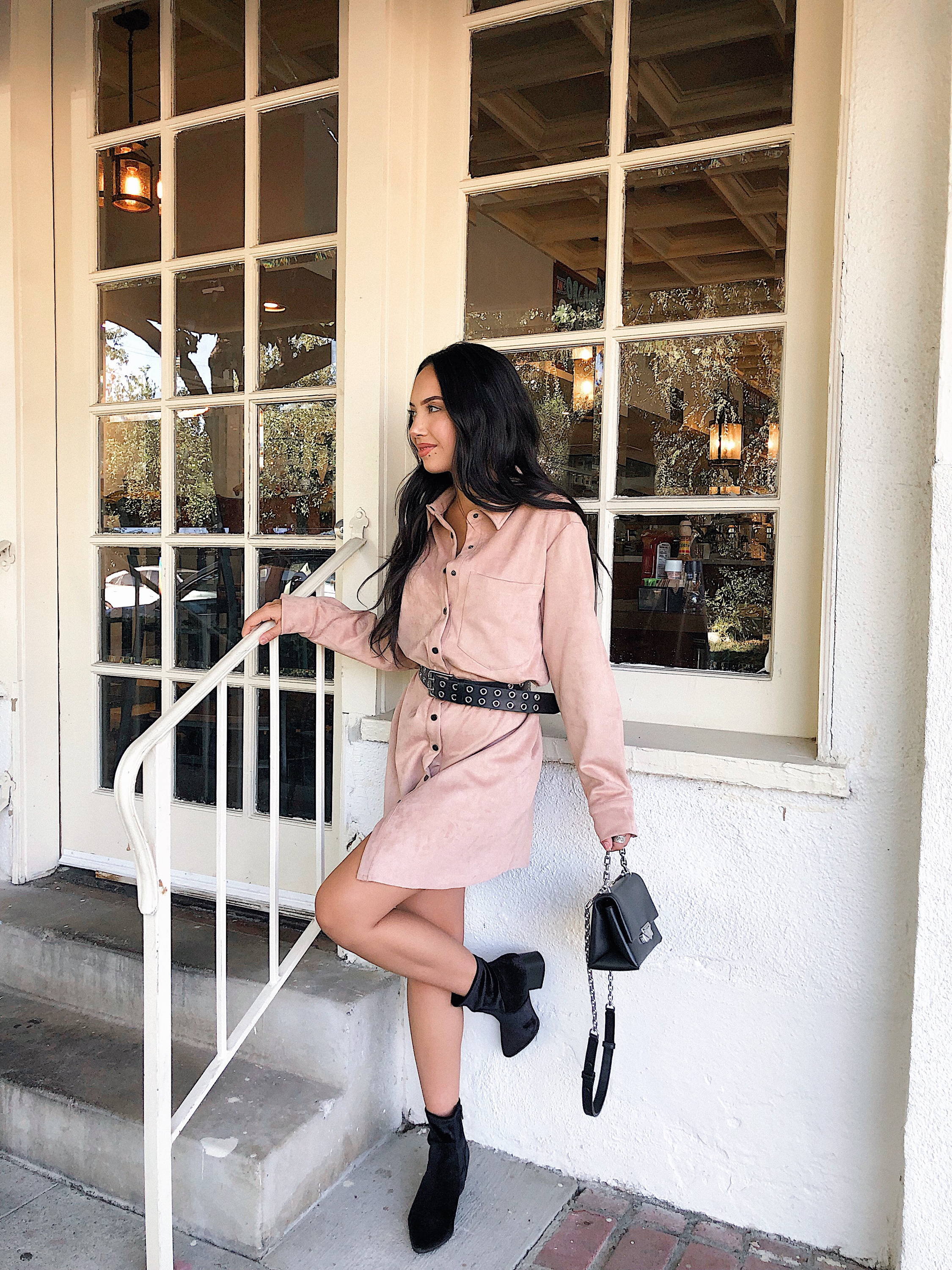 Alexa in the Kamryn Suede Shirt Dress