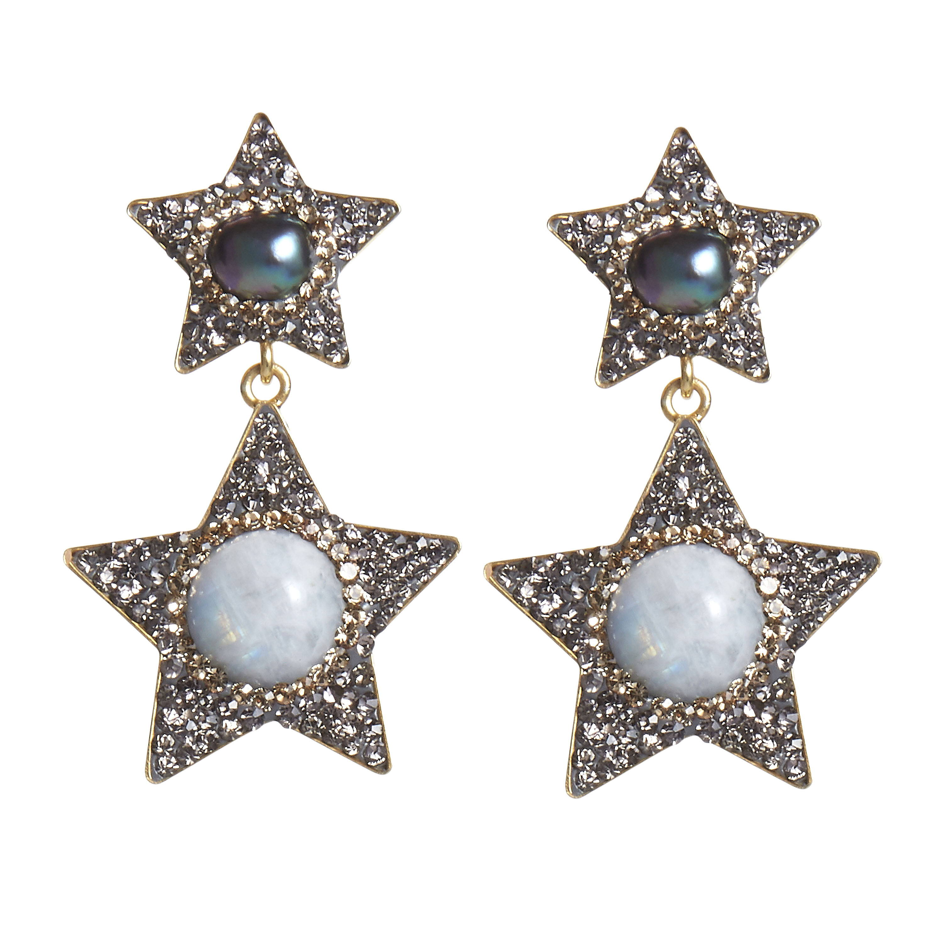 SORU JEWELLERY MOONSONE EARRINGS,  SORU MOONSTONE STAR EARRINGS IN HARPERS BAZAAR