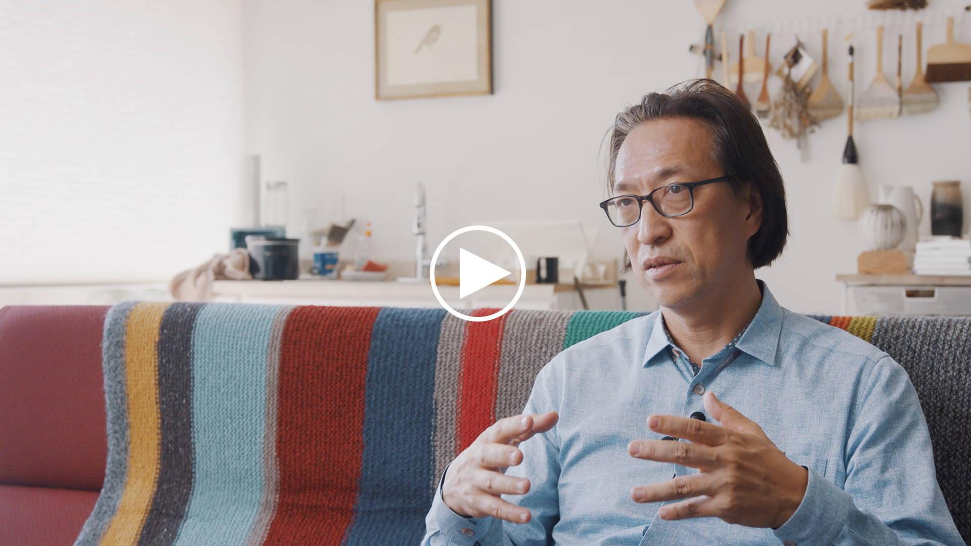 Picture of Makoto Fujimura that links to a YouTube video titled: Makoto Fujimura | Art and Faith