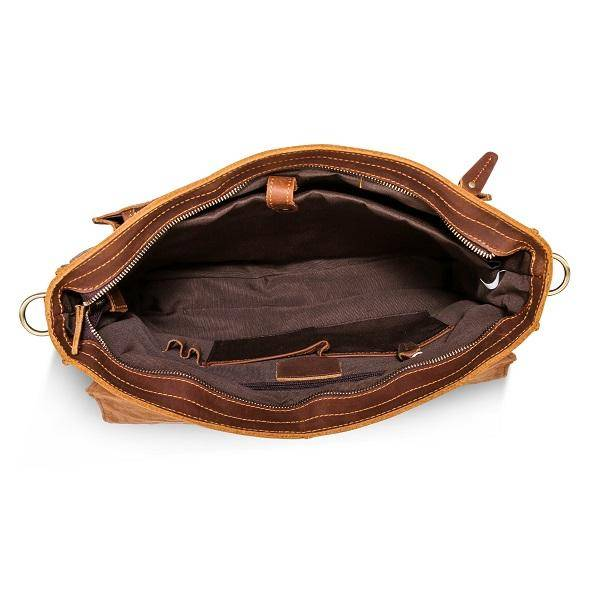The Daily Men's Leather Messenger Bag for Laptops - Brown Briefcase