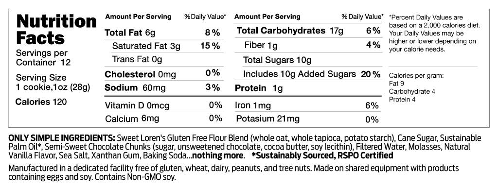 Gluten Free Chocolate Chunk Cookie Dough Nutrition Facts