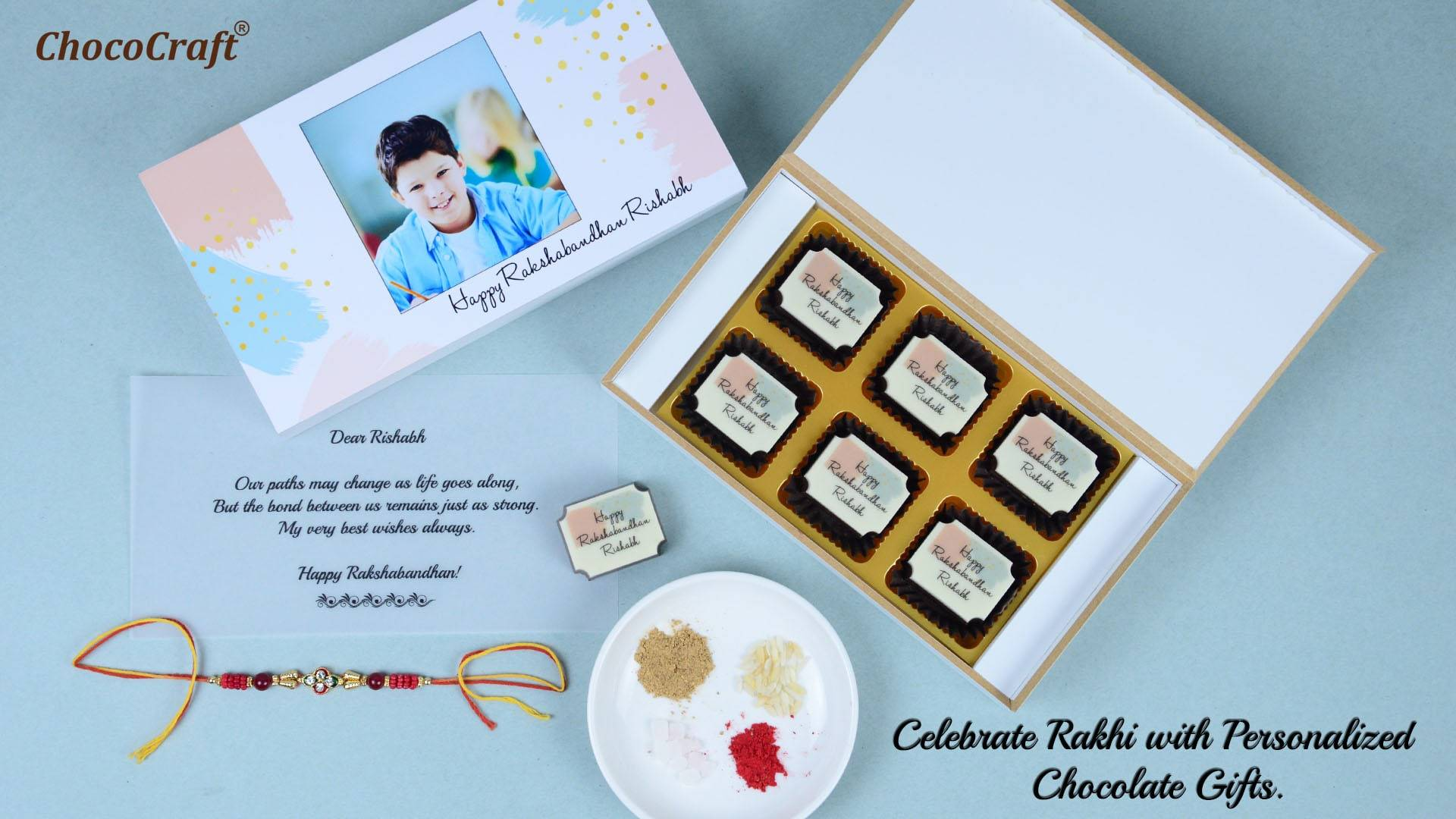 Personalized Chocolate Gifts for Rakhi