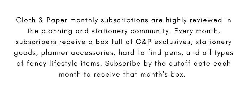 Cloth & Paper | Monthly Subscription