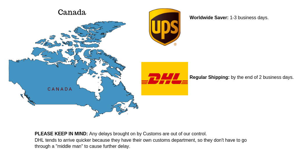 Hair Extensions shipping options for Canada from ups and DHL