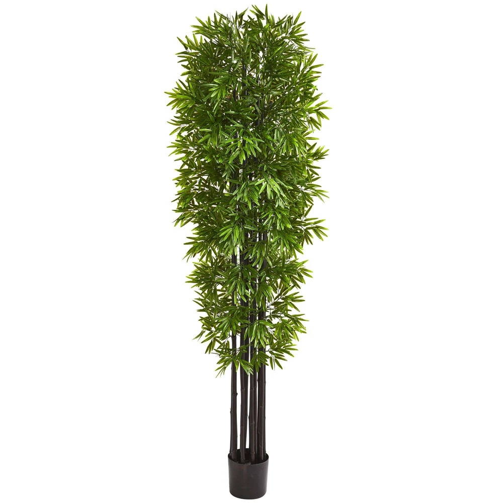 Nearly Natural 7' Bamboo Artificial Tree with Black Trunks UV Resistant (Indoor/Outdoor)