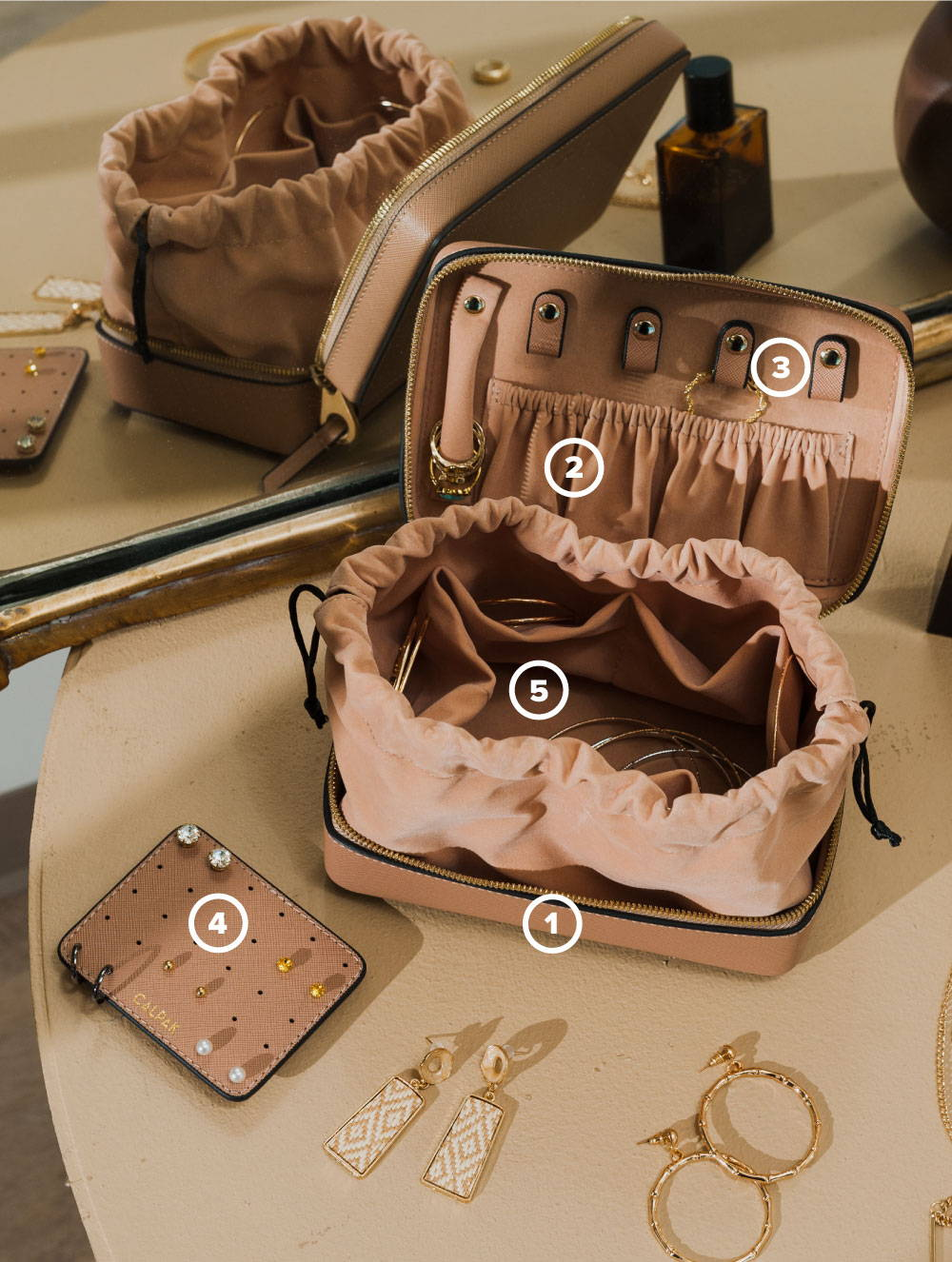 Jewelry Case Infographic showing various features