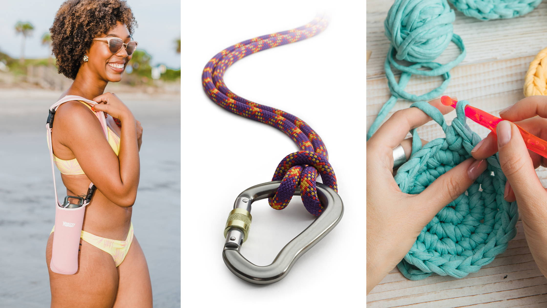 Three types of water bottle holders - sling, carabiner and crocheted holder