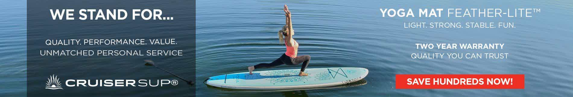 A female doing stand up paddle board Yoga