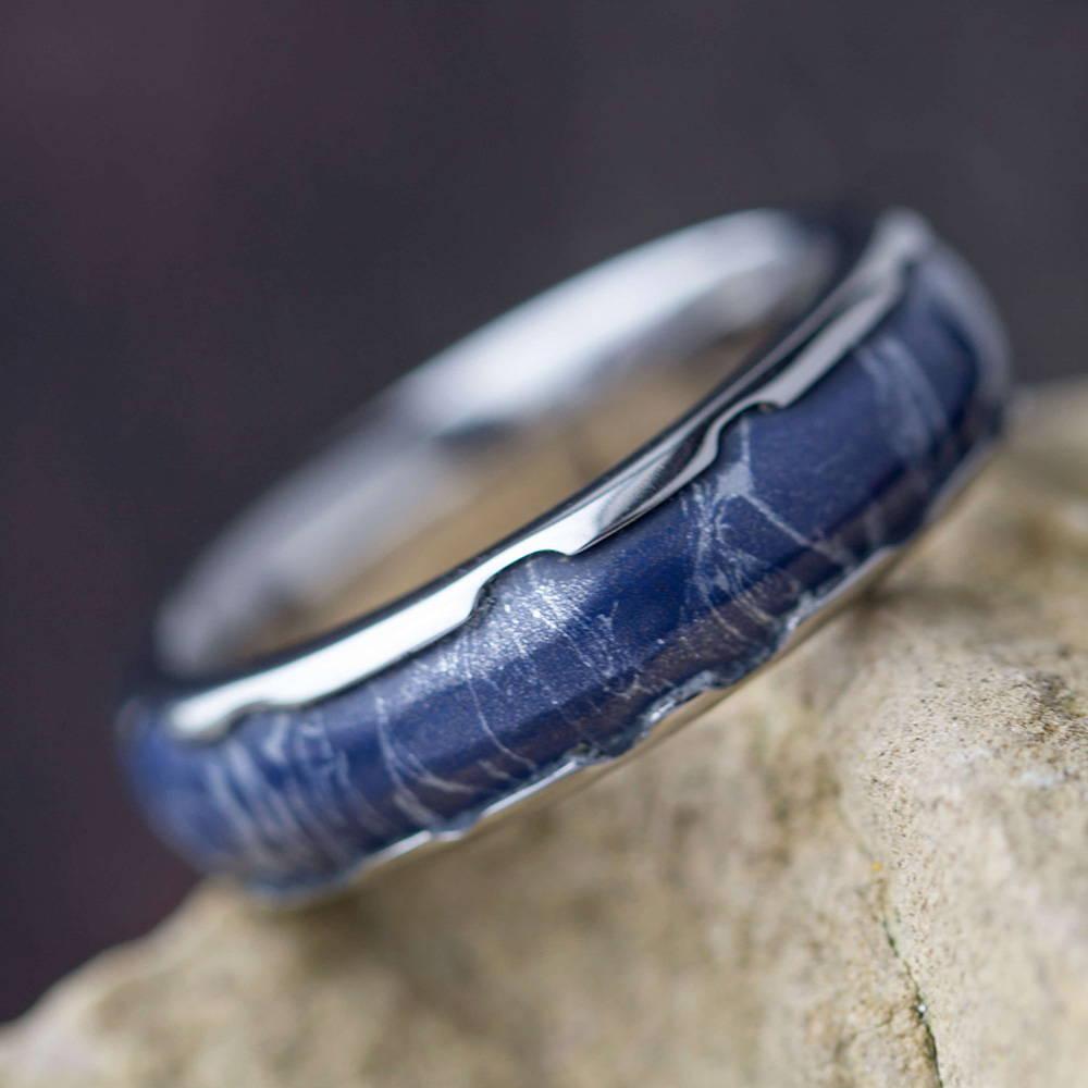 Blue and White Mokume Ring