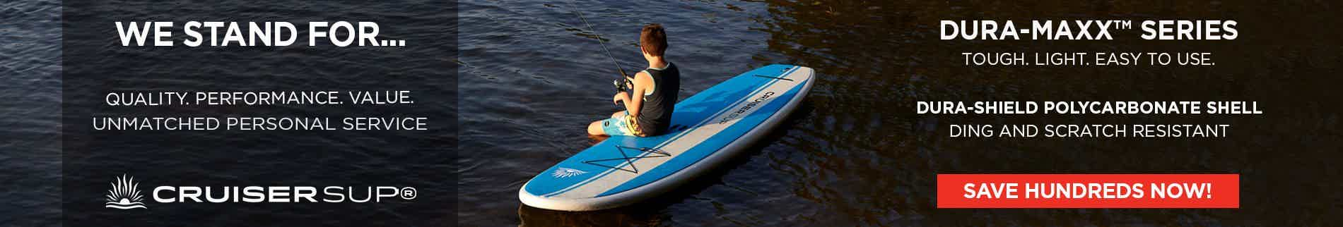 A child fishing on a SUP board