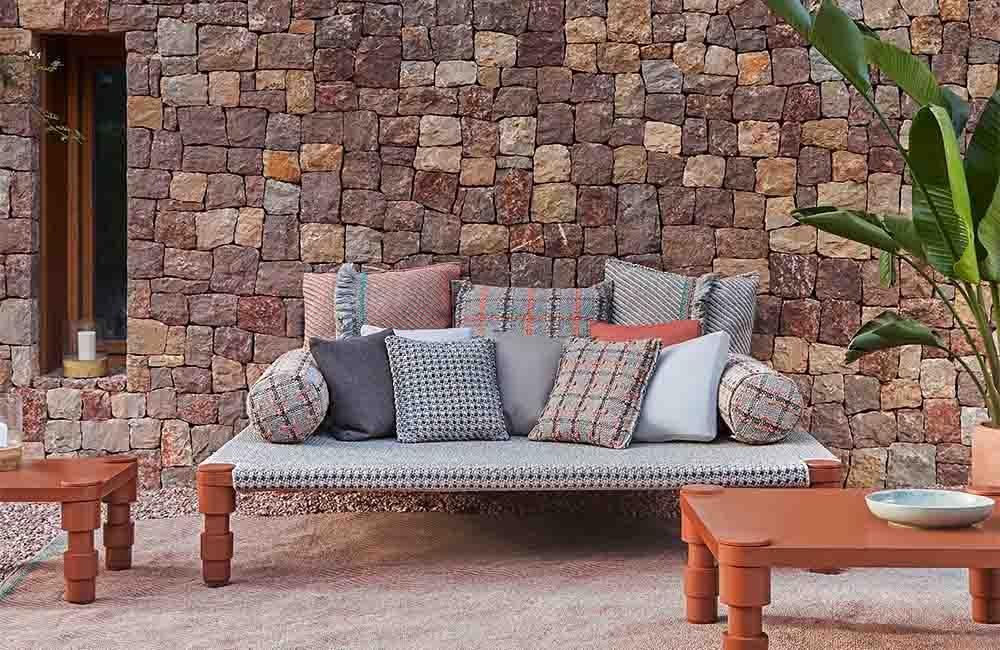 GAN Rugs Garden Layers Big Outdoor Cushion Diagonal
