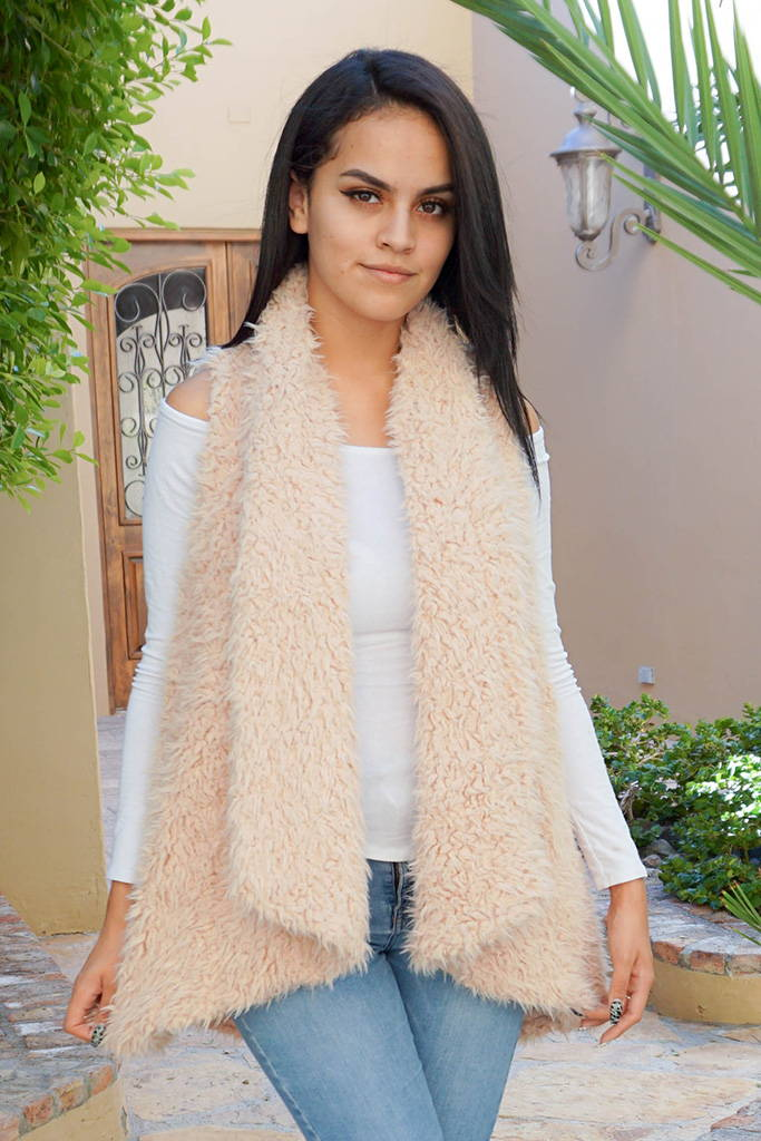 Ready In No Time Blush Faux Fur Sleeveless Vest