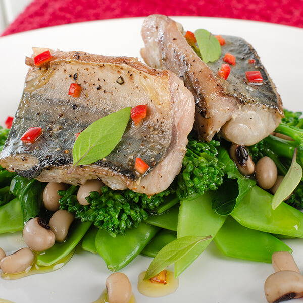 High Quality Organics Express Fish with black eyed peas and broccoli