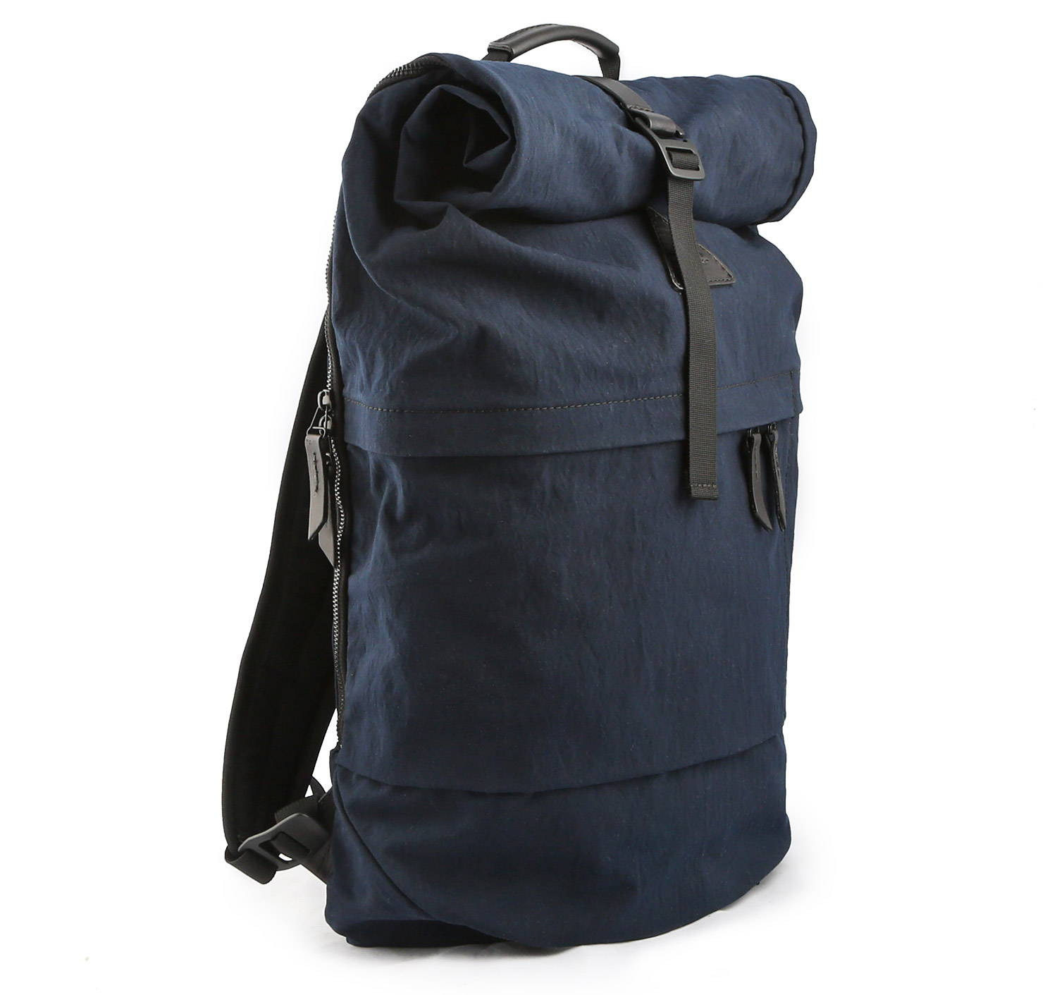 A navy blue roll top back pack.