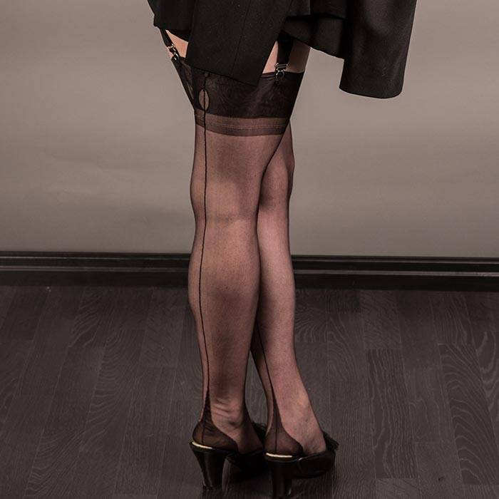 1950s black point heel fully fashioned stockings