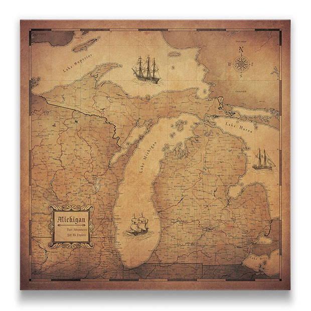 Michigan Push pin travel map golden aged